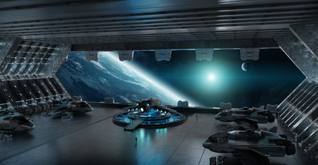Huge blueish landing strip spaceship interior 3D rendering