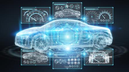 Modern digital smart car interface isolated opn black background 3D rendering Foto de archivo