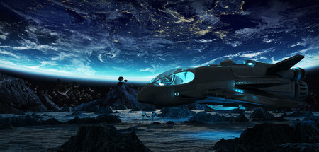 Astronauts exploring an asteroid with a futuristic spaceship
