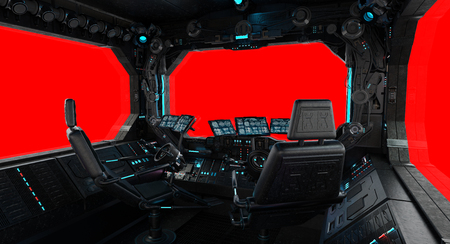 Spaceship grunge interior with view on a isolated red window Фото со стока