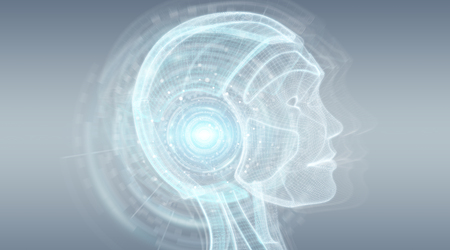 Digital artificial intelligence cyborg interface isolated on grey background 3D rendering