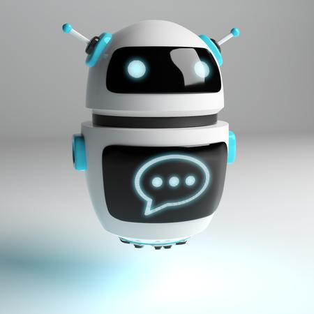 Futuristic digital chatbot on grey background 3D rendering