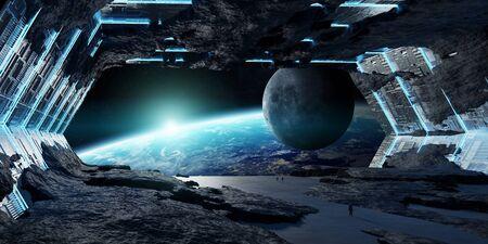 Ogromne niebieskawe wnętrze statku kosmicznego asteroidy Elementy renderowania 3D tego obrazu dostarczone przez NASA