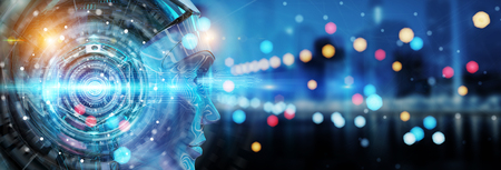 Tête de Cyborg utilisant l'intelligence artificielle pour créer une interface numérique sur le rendu 3D d'arrière-plan du bokeh de la ville