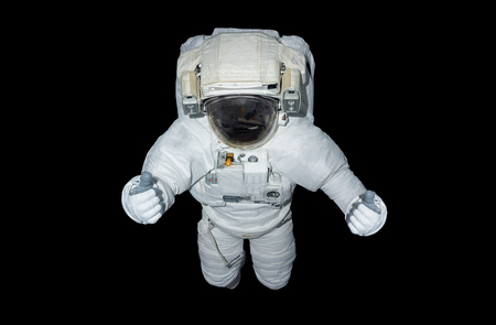 Astronaut floating isolated on black background 3D rendering elements