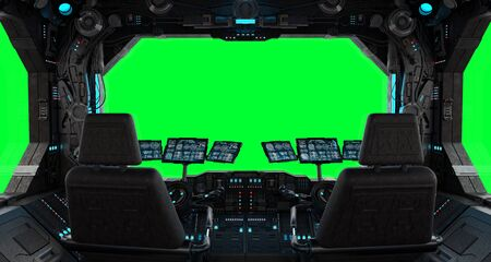 Spaceship grunge interior with view on a isolated green window Stock Photo