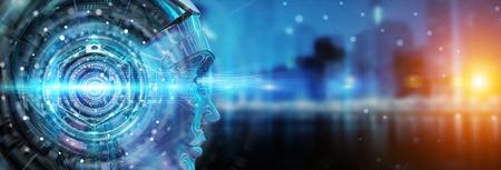 Cabeza de Cyborg usando inteligencia artificial para crear una interfaz digital en la representación 3D de fondo de bokeh de la ciudad