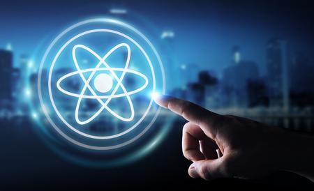 Businessman on blurred background using modern molecule structure 3D rendering