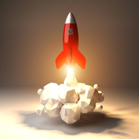 Modern digital rocket launching on grey background 3D rendering Stock Photo