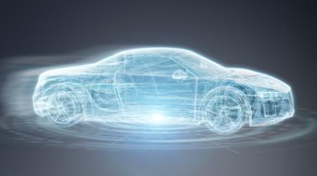 Interface de voiture intelligente numérique moderne isolé sur fond gris rendu 3D Banque d'images - 97922965