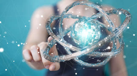 Businesswoman on blurred background using futuristic torus textured object 3D rendering