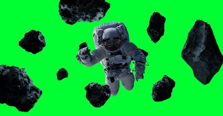 Astronaut floating isolated on green background 3D rendering