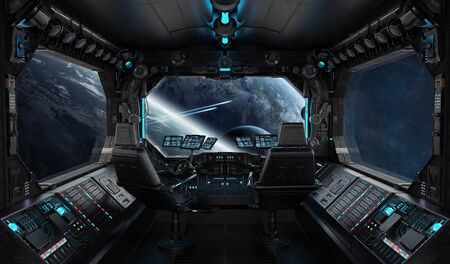 Spaceship grunge interior with view on exoplanet 3D rendering