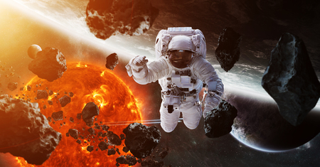 Astronaut floating in space in front of exploding sun 3D rendering