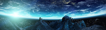 Panoramic view of planet Earth with asteroids flying close in space 3D rendering