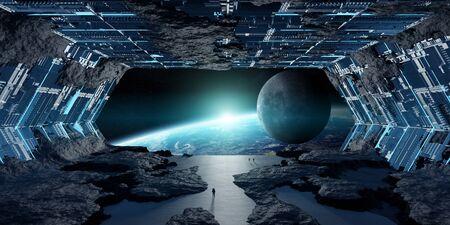 Huge blueish asteroid spaceship interior 3D rendering Reklamní fotografie
