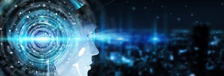 cabeza cyborg utilizando inteligencia artificial para crear la interfaz digital en la ciudad de fondo bokeh representación 3d
