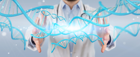 Doctor on blurred background holding blue digital DNA structure 3D rendering Stock Photo