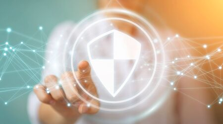 Busineswoman on blurred background using shield safe protection with connections 3D rendering