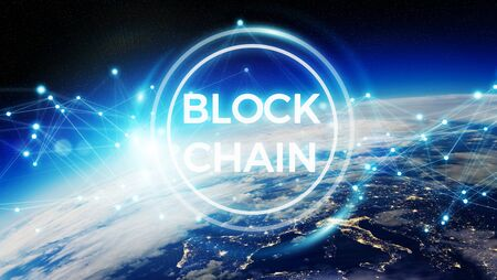 Blockchain and connections over the globe 3D rendering