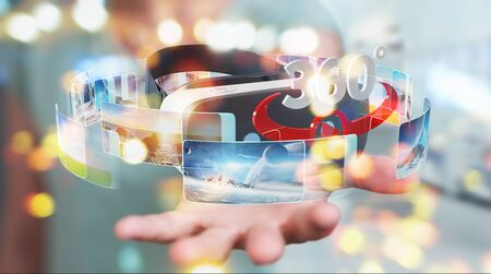 Businesswoman on blurred background using virtual reality glasses technology 3D rendering Foto de archivo