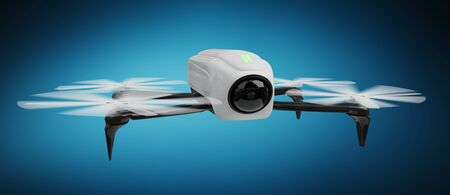 Modern drone on blue background 3D rendering