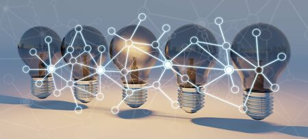 Bright lightbulbs and connections  lined up on orange background 3D rendering
