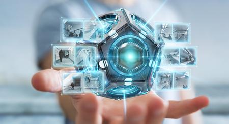 Uomo d'affari su fondo vago facendo uso della rappresentazione futuristica della videocamera di sicurezza 3D del fuco Archivio Fotografico - 99009307