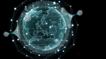 Globe network hologram with digital connection on dark background 3D rendering