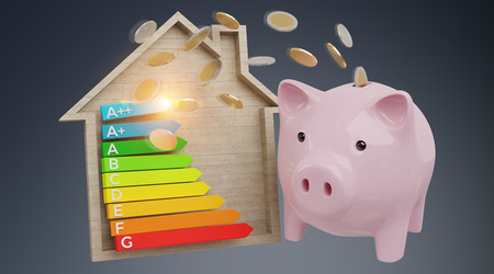 Energy chart rating and piggy bank illustration on grey background 3D rendering
