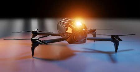 Modern drone on dark background 3D rendering