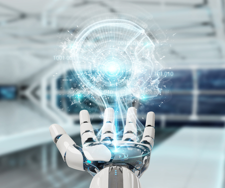 White cyborg hand on blurred background creating artificial intelligence 3D rendering Archivio Fotografico