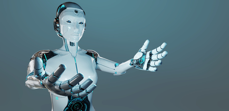 White woman cyborg opening her two hands isolated on dark blue background 3D rendering