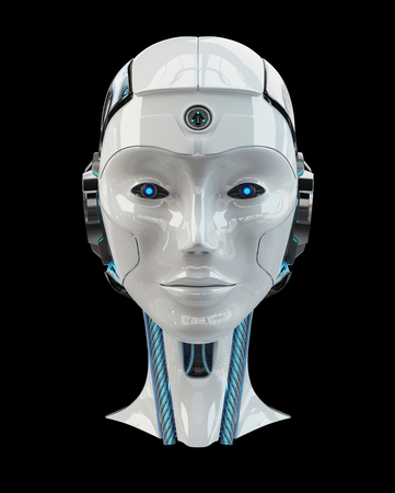 Cyborg head artificial intelligence isolated on drak background 3D rendering