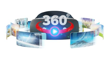 Virtual reality glasses technology illustration on white background 3D rendering Foto de archivo