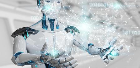 White man humanoid on blurred background using digital globe hud interface 3D rendering