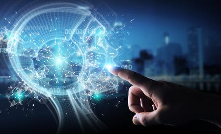 Hombre de negocios en el fondo borroso usando la representación 3D de interfaz de inteligencia artificial digital Foto de archivo