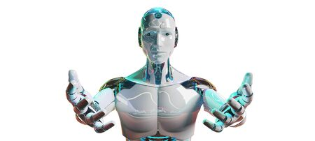 White male cyborg opening his two hands isolated on white background 3D rendering