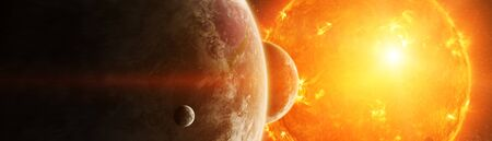 Sun exploding close to inhabited planets system 3D rendering elements