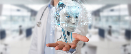 Doctor on blurred background using digital artificial intelligence interface 3D rendering