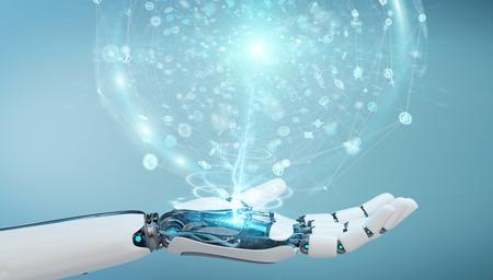 Mano humanoide blanca sobre fondo borroso con representación 3D de red global digital
