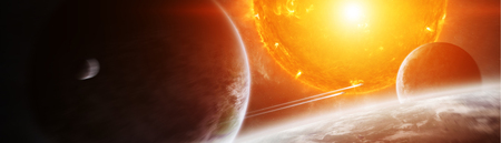 Sun exploding close to inhabited planets system 3D rendering Stok Fotoğraf - 100419606