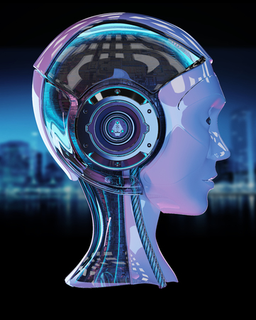 Cyborg head artificial intelligence isolated on blue background 3D rendering Stock Photo