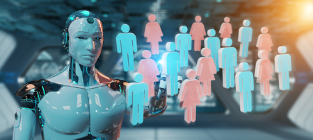White cyborg on blurred background controlling group of people 3D rendering Stock Photo