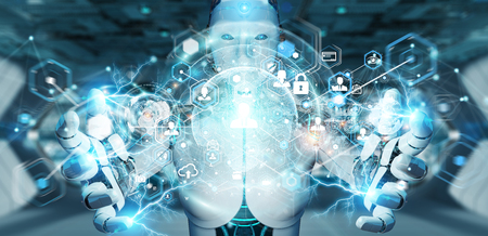White woman robot on blurred background using digital screen interface 3D rendering