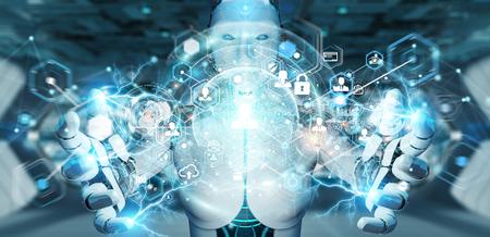 Robot femme blanche sur fond flou à l'aide du rendu 3D de l'interface d'écran numérique Banque d'images