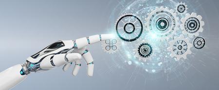 Weiße humanoide Roboterhand auf unscharfem Hintergrund unter Verwendung der 3D-Wiedergabe der digitalen Zahnräder