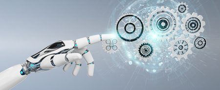 White humanoid robot hand on blurred background using digital gears 3D rendering Stockfoto