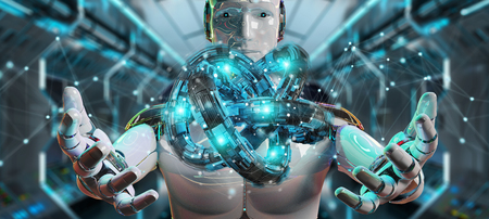 White robot on blurred background creating future technology structure 3D rendering