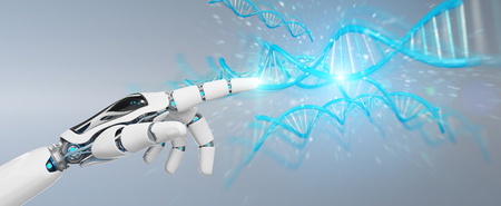 White cyborg hand on blurred background scanning human DNA 3D rendering